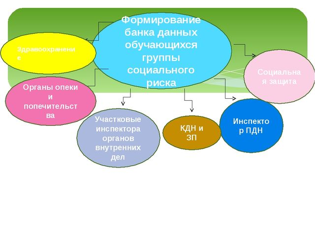 Формирование банка данных обучающихся группы социального риска Инспектор ПДН...