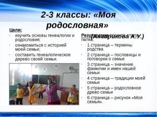 2-3 классы: «Моя родословная» (Ангарикова А.У.) Цели: изучить основы генеалог