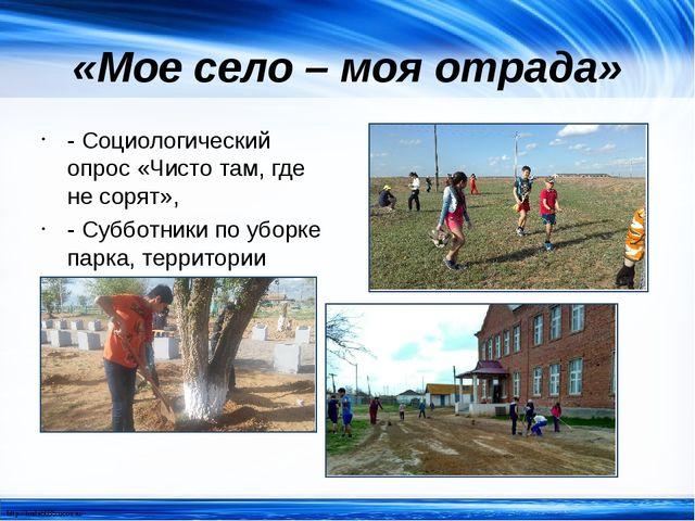«Мое село – моя отрада» - Социологический опрос «Чисто там, где не сорят», -...