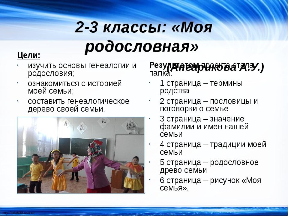 2-3 классы: «Моя родословная» (Ангарикова А.У.) Цели: изучить основы генеалог...