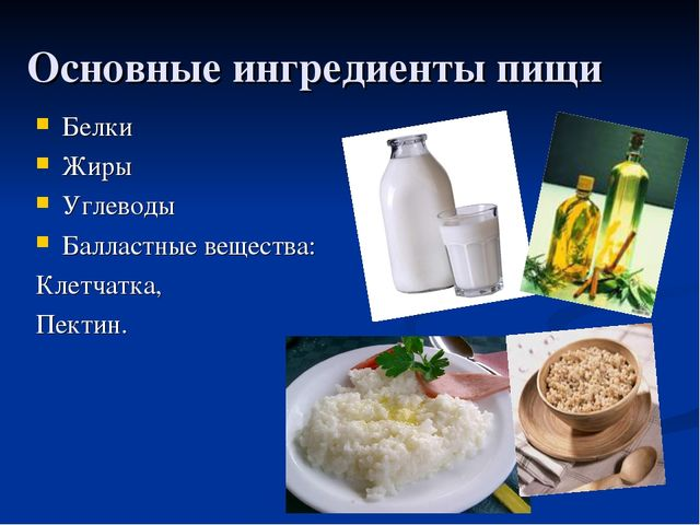 Основные ингредиенты пищи Белки Жиры Углеводы Балластные вещества: Клетчатка,...