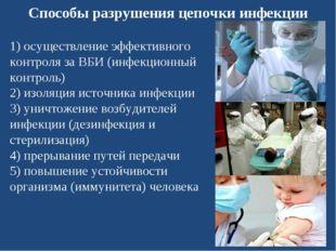Способы разрушения цепочки инфекции 1) осуществление эффективного контроля за