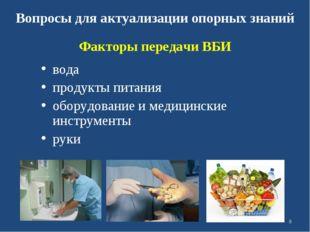 Вопросы для актуализации опорных знаний вода продукты питания оборудование и