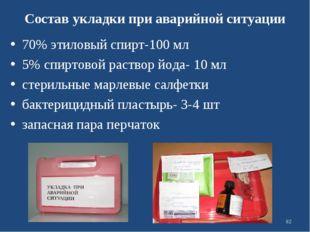 Состав укладки при аварийной ситуации 70% этиловый спирт-100 мл 5% спиртовой
