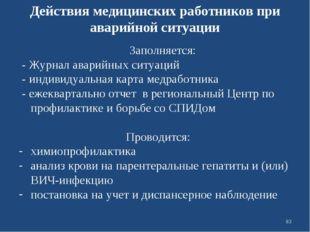 Действия медицинских работников при аварийной ситуации Заполняется: - Журнал