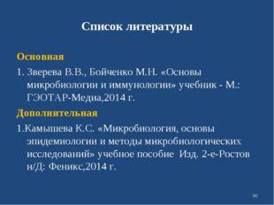 Список литературы Основная 1. Зверева В.В., Бойченко М.Н. «Основы микробиолог