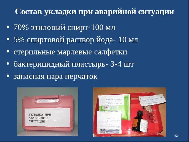 Состав укладки при аварийной ситуации 70% этиловый спирт-100 мл 5% спиртовой...