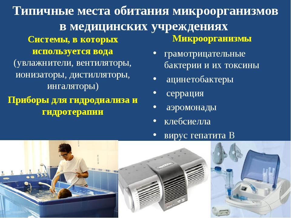 Типичные места обитания микроорганизмов в медицинских учреждениях Системы, в...