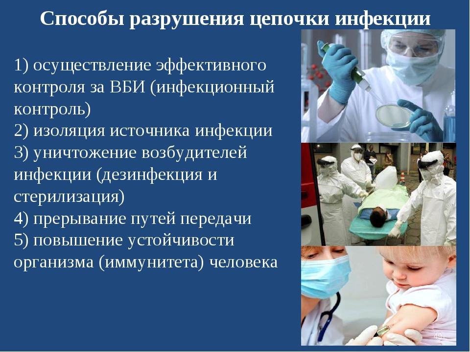 Способы разрушения цепочки инфекции 1) осуществление эффективного контроля за...