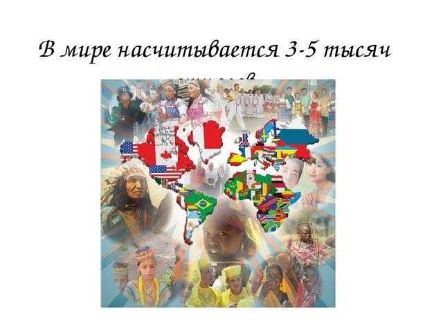 В мире насчитывается 3-5 тысяч этносов