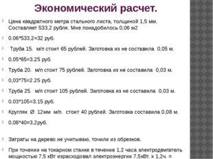 Экономический расчет. Цена квадратного метра стального листа, толщиной 1,5 мм
