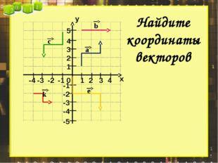 х у 0 1 2 3 4 1 2 3 4 5 -1 -2 -3 -4 -1 -2 -3 -4 -5 Найдите координаты векторо