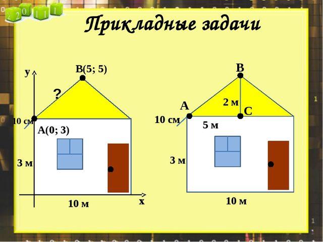 ? 10 см 10 м 3 м А(0; 3) В(5; 5) х у 10 м 3 м 2 м 5 м 10 см А В С Прикладные...