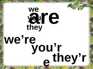 are we you they we're you're they're