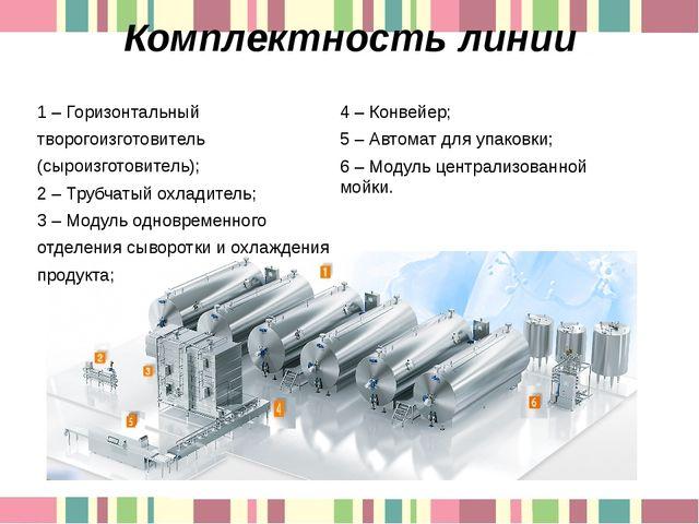 Комплектность линии 1 – Горизонтальный творогоизготовитель (сыроизготовитель)...