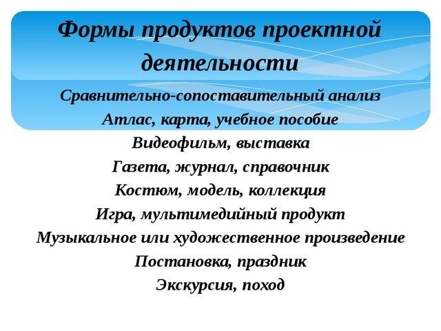 Формы продуктов проектной деятельности Сравнительно-сопоставительный анализ А...