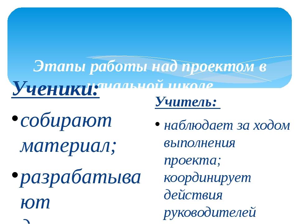 Этапы работы над проектом в начальной школе III этап – информационно - опера...