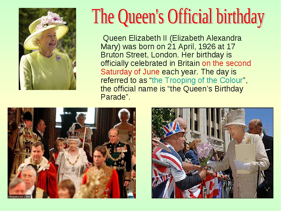 Queen Elizabeth II (Elizabeth Alexandra Mary) was born on 21 April, 1926 at...