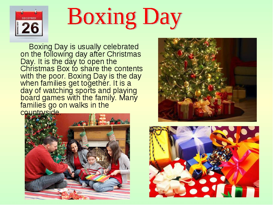 Boxing Day is usually celebrated on the following day after Christmas Day. I...