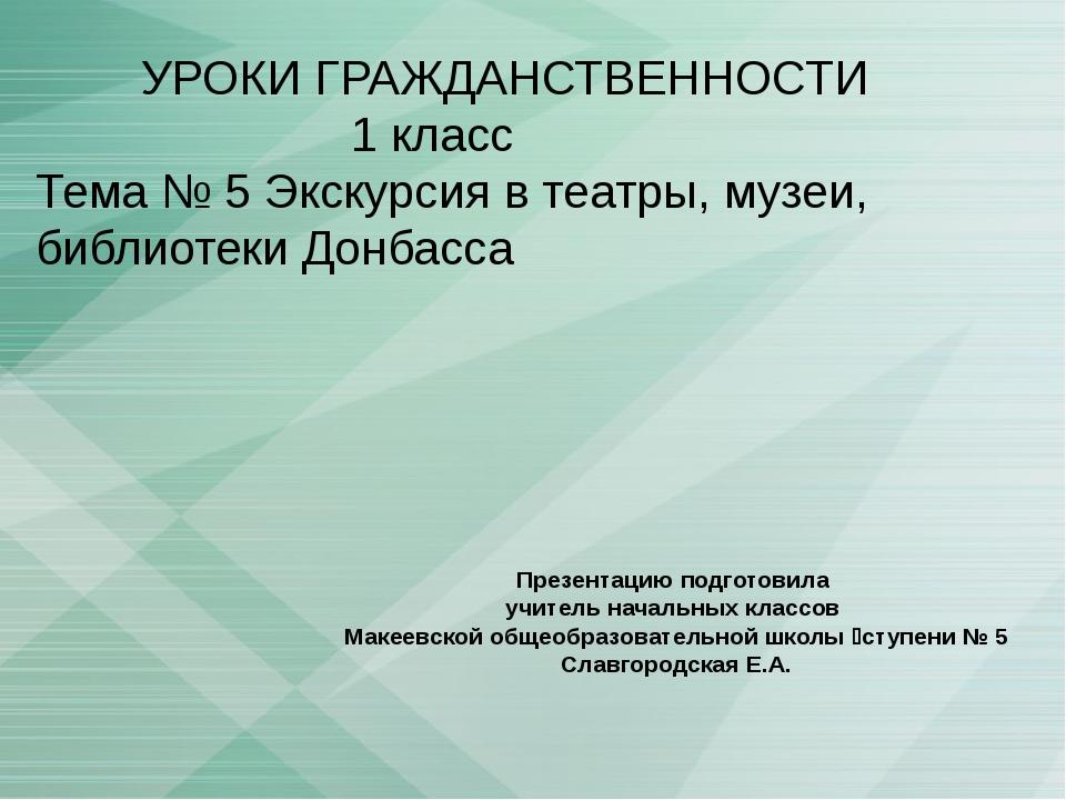 УРОКИ ГРАЖДАНСТВЕННОСТИ 1 класс Тема № 5 Экскурсия в театры, музеи, библиоте...