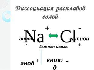 Диссоциация расплавов солей Na Cl + - Ионная связь катод анод + - анион - кат