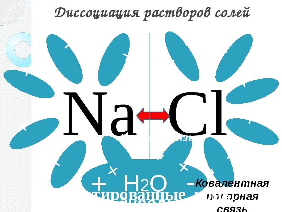 Диссоциация растворов солей Cl Na + - + - + - + - + - - + - + + - + - - + + -...