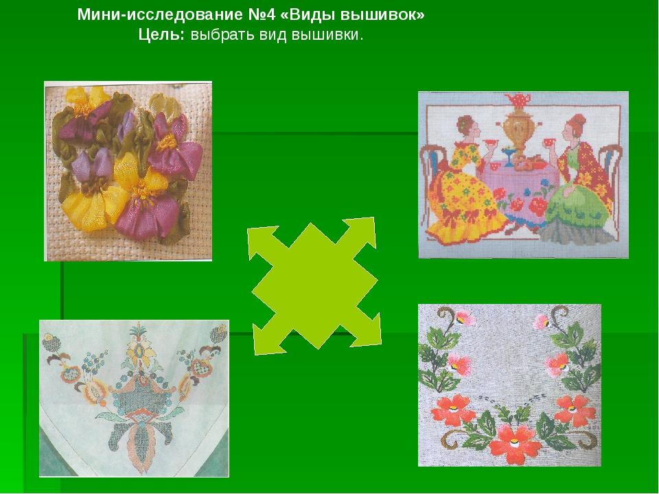 Мини-исследование №4 «Виды вышивок» Цель: выбрать вид вышивки.
