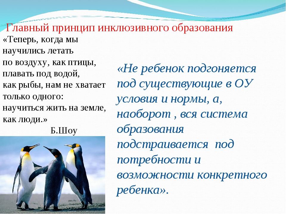 Главный принцип инклюзивного образования «Теперь, когда мы научились летать...