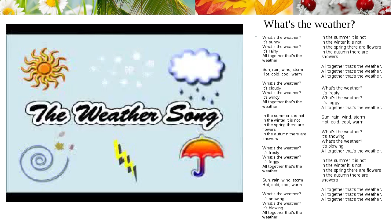 What's the weather? What's the weather? It's sunny What's the weather? It's r...