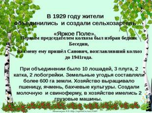 В 1929 году жители объединились и создали сельхозартель «Яркое Поле». Первым