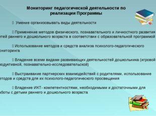 Мониторинг педагогической деятельности по реализации Программы  Умение орга