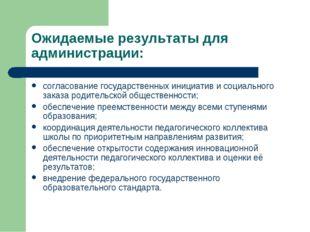 Ожидаемые результаты для администрации: согласование государственных инициати