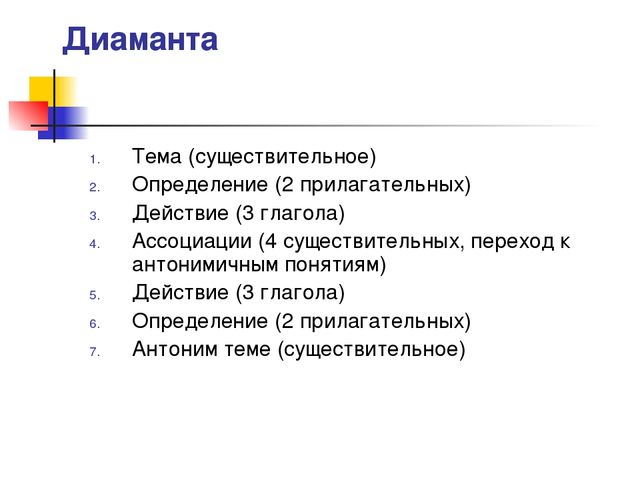 Диаманта Тема (существительное) Определение (2 прилагательных) Действие (3 гл...