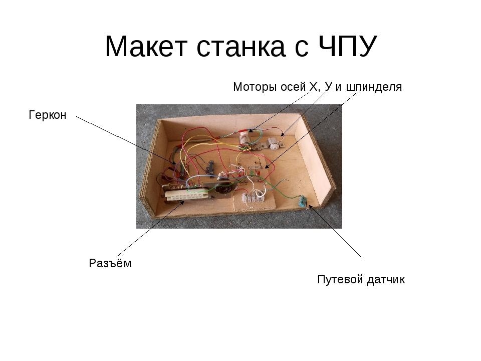 Макет станка с ЧПУ Путевой датчик Геркон Моторы осей Х, У и шпинделя Разъём
