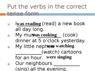 Put the verbs in the correct tense form I__________ (read) a new book all day