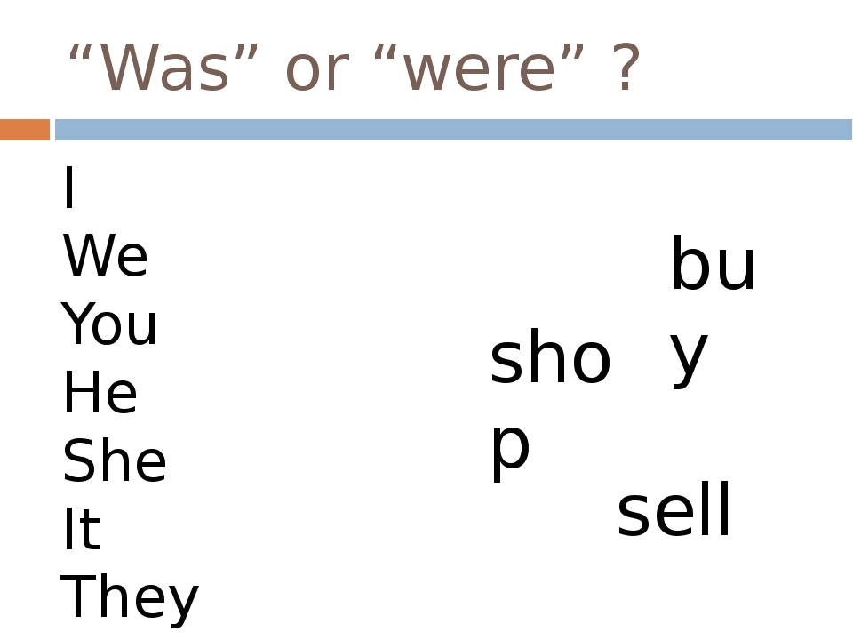 """""""Was"""" or """"were"""" ? I We You He She It They buy shop sell"""