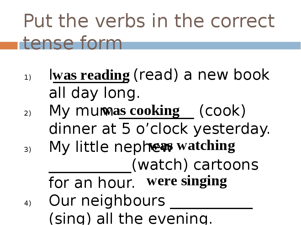 Put the verbs in the correct tense form I__________ (read) a new book all day...