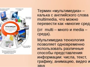 Термин «мультимедиа» – калька с английского слова multimedia, что можно перев