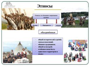 Этносы Этносы-это большие социальные группы Племя Народность Нация общей исто