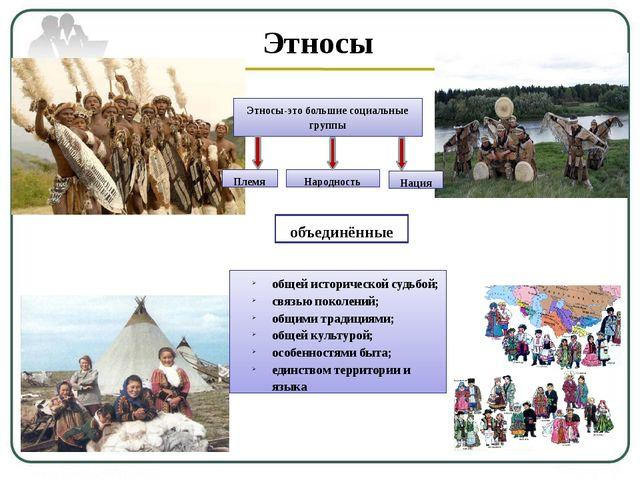 Этносы Этносы-это большие социальные группы Племя Народность Нация общей исто...