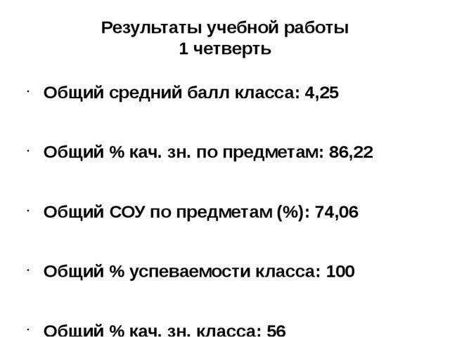 Результаты учебной работы 1 четверть Общий средний балл класса: 4,25 Общий %...