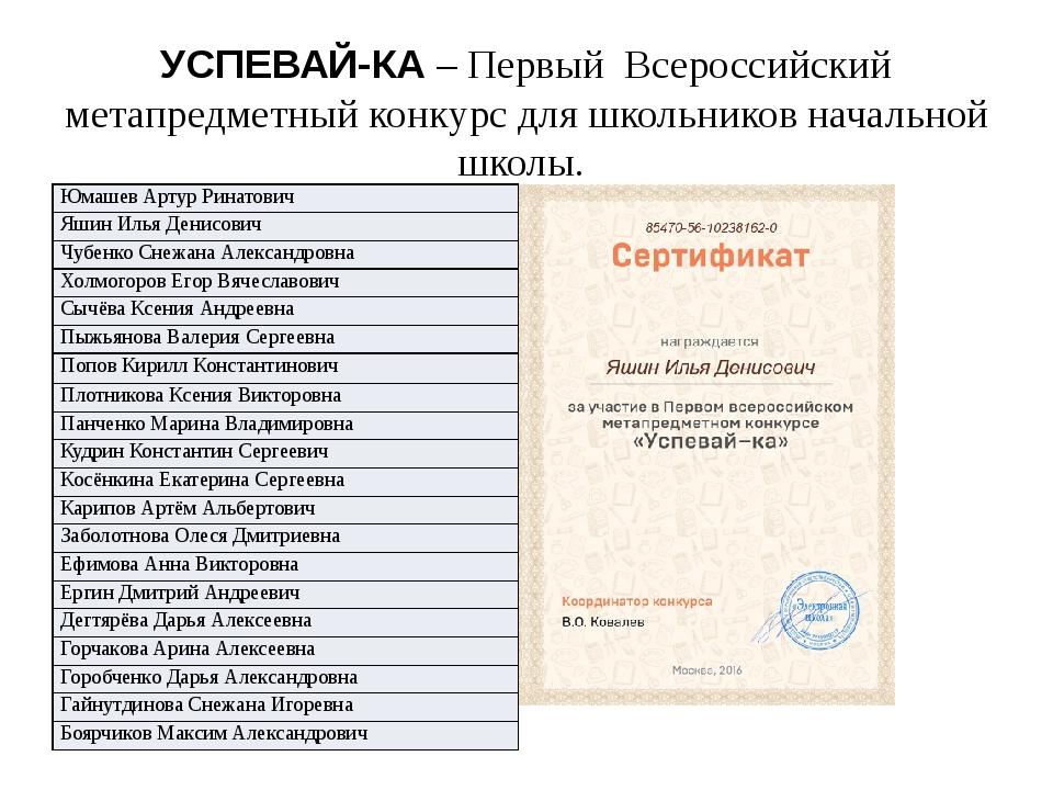 УСПЕВАЙ-КА – Первый Всероссийский метапредметный конкурс для школьников начал...