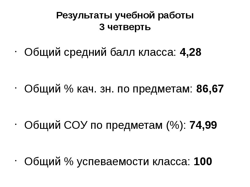Результаты учебной работы 3 четверть Общий средний балл класса: 4,28 Общий %...