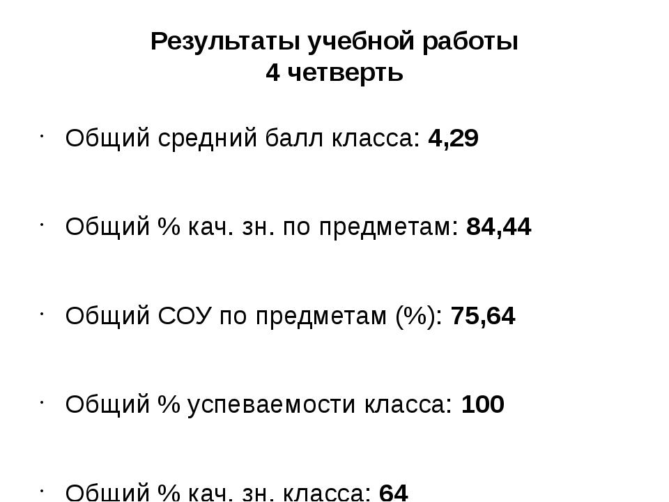 Результаты учебной работы 4 четверть Общий средний балл класса:4,29 Общий %...
