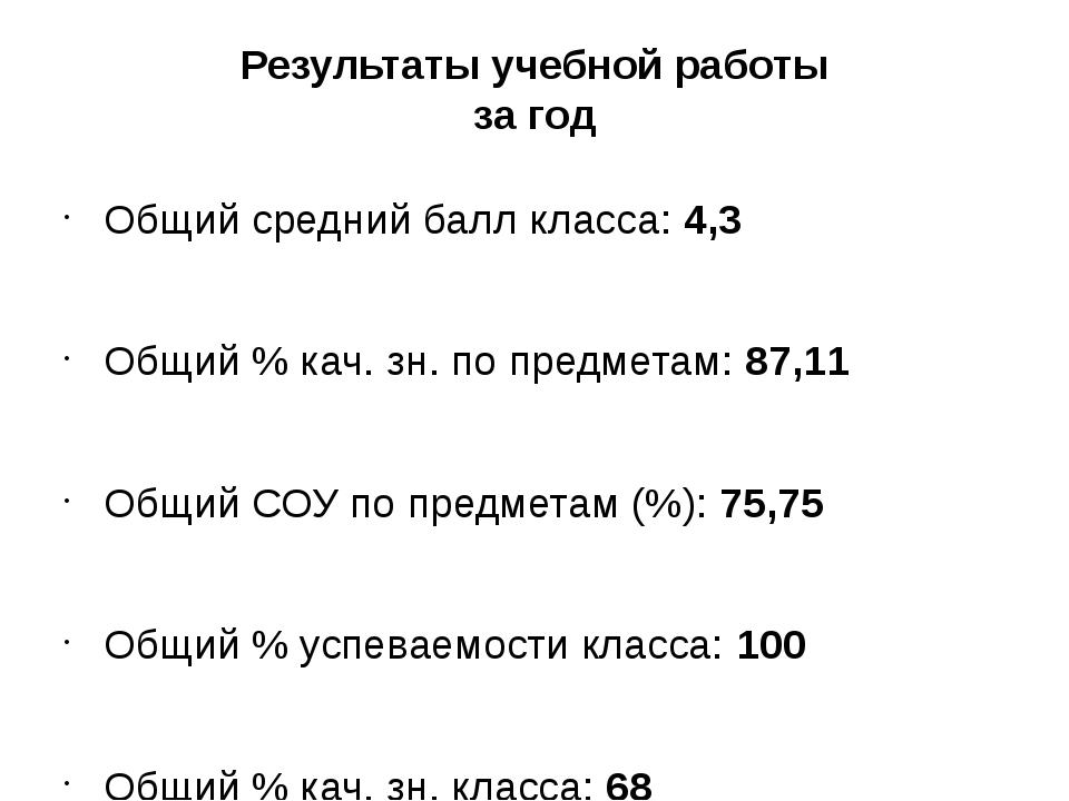 Результаты учебной работы за год Общий средний балл класса:4,3 Общий % кач....
