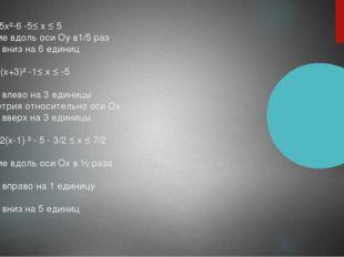 1.У=1/5х²-6 -5≤ х ≤ 5 Сжатие вдоль оси Оу в1/5 раз Сдвиг вниз на 6 единиц 2,У
