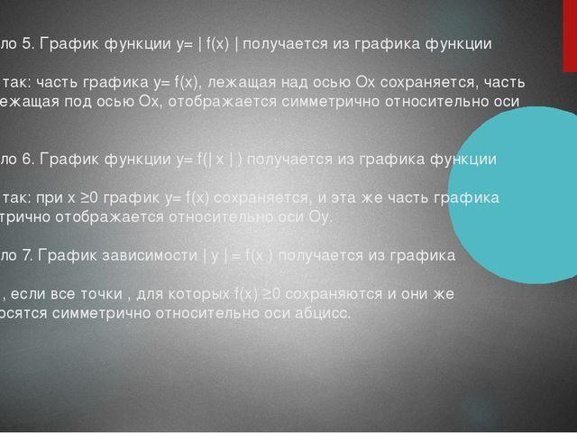 Правило 5. График функции у= | f(х) | получается из графика функции у= f(х) т...