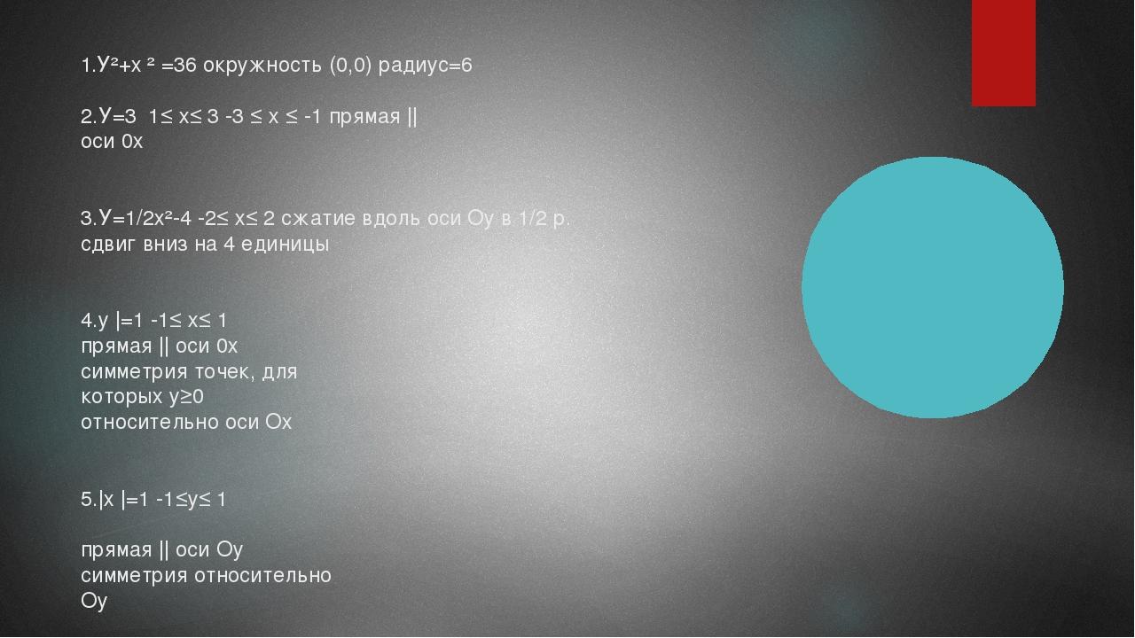1.У²+х ² =36 окружность (0,0) радиус=6 2.У=3 1≤ х≤ 3 -3 ≤ х ≤ -1 прямая || ос...