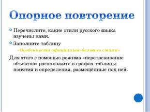 Перечислите, какие стили русского языка изучены нами. Заполните таблицу «Особ