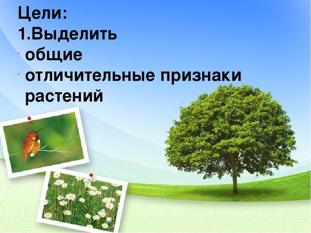 Цели: 1.Выделить общие отличительные признаки растений